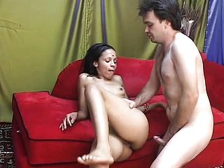 Bony youthfull nymph from India working manstick like some professional porno starlet