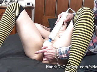 Desi Nymph with Meaty Joy button Gets Coochie Massage Orgasm with Massager