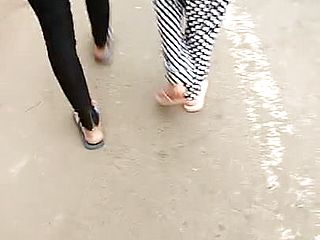 Desi Mysore dame ambling on road thong evident