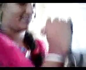 Unexperienced Desi Cougar in rosy sari posing on camera.mp4